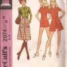 McCalls 2974 (1971) Long Short Cuff Sleeves Jumpsuit Button Waistband Skirt Pattern Size 16 UNCUT