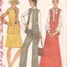 McCalls 3882 (1973) Petite Long Vest Wide Leg Pants Skirt Pattern Size 14 UNCUT