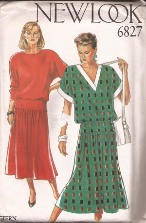 "New Look 6827 ""V"" or Round Neck Drop Waist Raglan Sleeves Dress Pattern Size 8 10 12 1416 18 UNCUT"