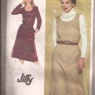 Simplicity 9601 (1980) Long Sleeve Dress Sleeveless Jumper Scoop Neck Pockets Pattern Size 14 UNCUT