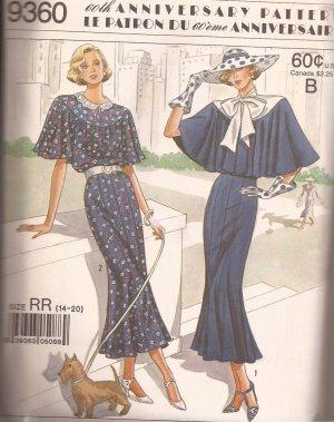 Simplicity 9360 (1988) Vintage Look Dress Capelet Pattern Size 14 16 18 20 UNCUT