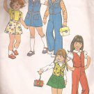 Simplicity 7321 (1975) Girls Childs Vest Skirt Pants Detachable Suspenders Pattern Size 6 CUT