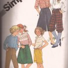 Simplicity 5314 (1981) Girls Pants Knickers Bermuda Shorts Culottes Pattern Skirt Size 12 CUT