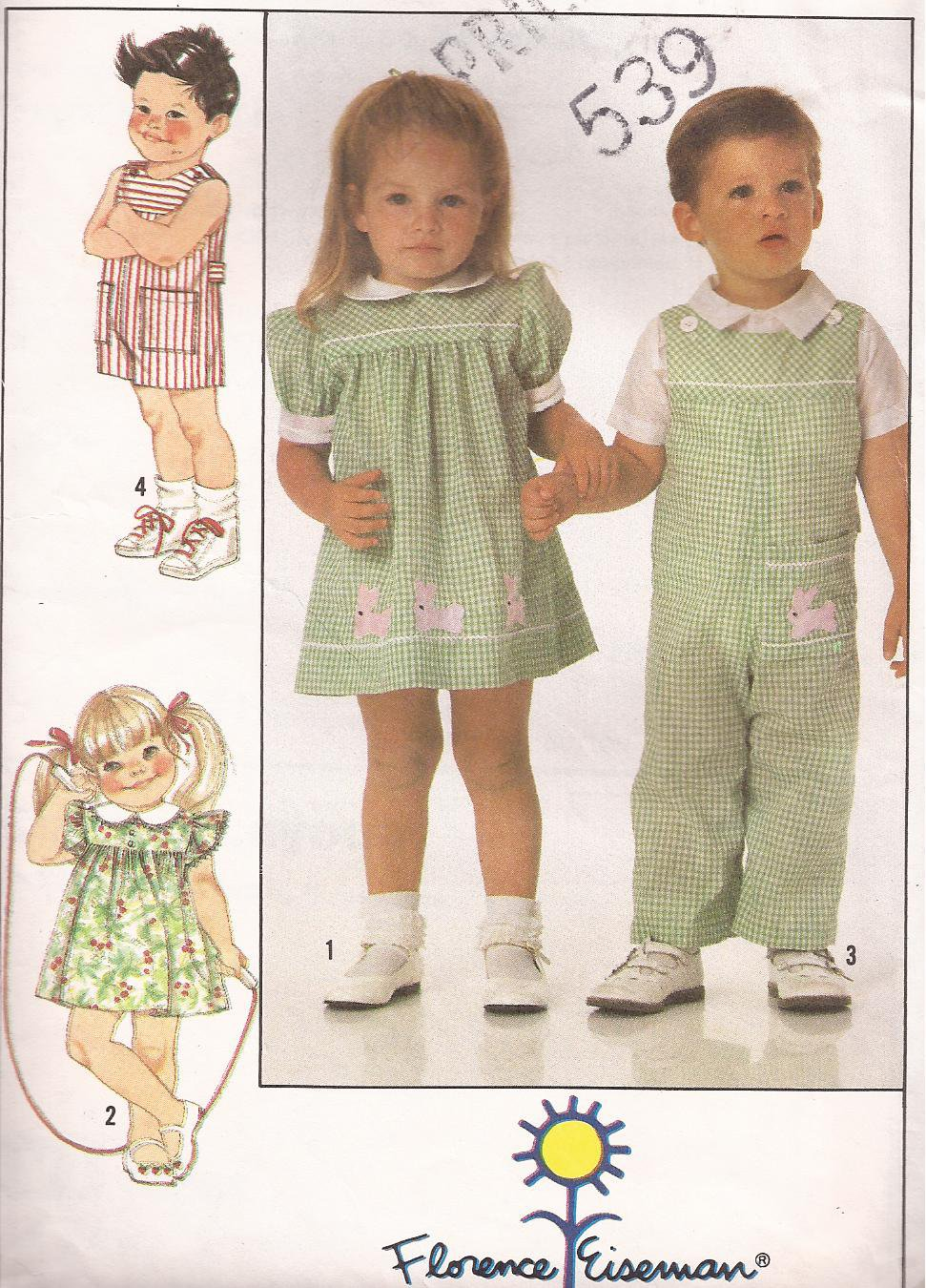 Simplicity 9497 (1989) Childs Toddlers Dress  Long Short Overalls Pattern Size 1 2 3 4 PART CUT
