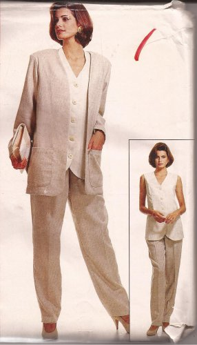McCalls 6972 (1994) Unlined Jacket Long Vest Pants Pattern  Plus Size 18 20 22 24 UNCUT