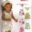New Look 6578 Toddlers Girls Dress Jumper Appliques Head Scarf Pattern Size 1/2 1 2 3 4 PART CUT