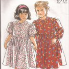 New Look 6610 Girls Dress Peter Pan Collar Puff Sleeves Button Front Pattern CUT to Size 4