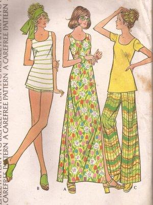 McCalls 3599 (1973) Vintage Maxi Dress Top Wide Leg Pants Short-Shorts Pattern Size 16 PART CUT