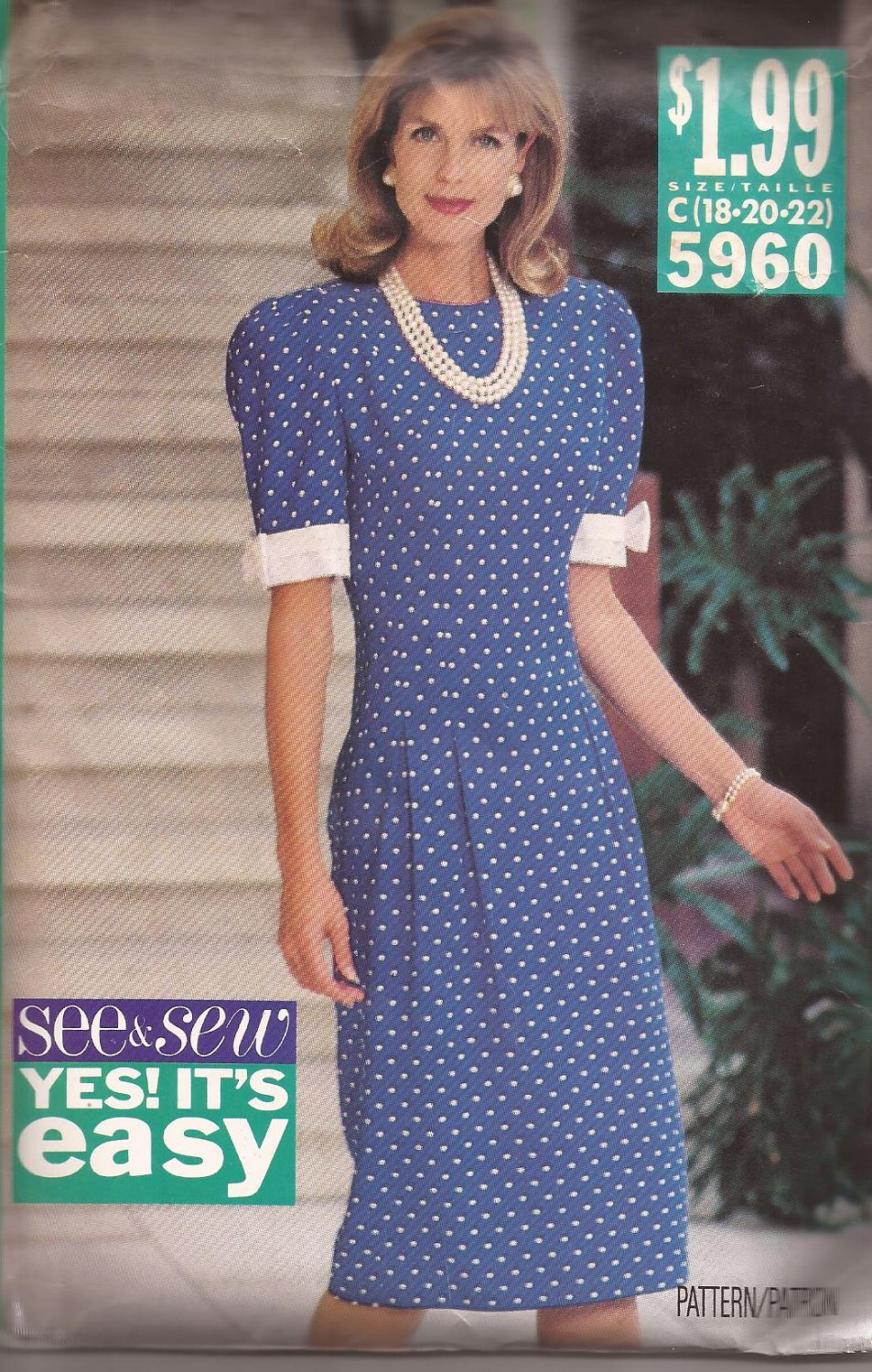 Butterick 5960 (1992) Fitted Waist Dress Sleeves with Contrast Bands Pattern Size 18 20 22 UNCUT