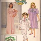 Butterick 3436 (1985) Cabbage PatchGirl Doll Nightgown Top Pants Transfer Pattern Size4 5 6 UNCUT