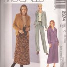 McCalls 2374 (1999) Unlined Jacket Top Skirt Pants Wardrobe Pattern Size 10 12 14 UNCUT