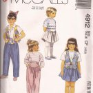 McCalls 4912 (1990) Childs Girls Vest Shaped Yoke Skirt Pants Pattern Size 4 5 6 UNCUT