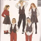 McCalls 5050 (1990) Girls Reversible Vest Blouse Split Skirt Coulottes Pants Pattern Size 8 UNCUT