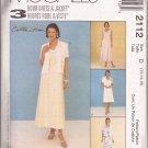 McCalls 2112 (1999) Princess Seam V-Neck Dress Short Sleeve Jacket Pattern Size 12 14 16 UNCUT