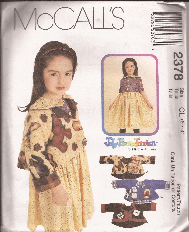 McCalls  2378 (1999) Childs Girls Dress Jackets Appliques Pattern Size 3 4 5 UNCUT
