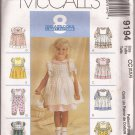 McCalls 9194 (1998) Toddlers Girls Dress Jumpsuit Pinafore Pinny Pattern Size 2 3 4 UNCUT