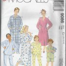 McCalls 9086 (1997)  Boys Girls Robe Nightshirt Sleep Top Pants Shorts Pattern Size 10 12 14 UNCUT