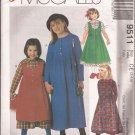 McCalls 9511 (1998) Button Bodice Round Scoop Neck Dress Jumper Pattern Size 3 4 5 UNCUT