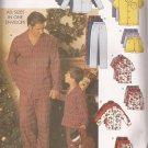 Butterick 6887 (2001) Mens Childrens Pajama Top Shorts Pants Pattern Size S M L XL PART CUT