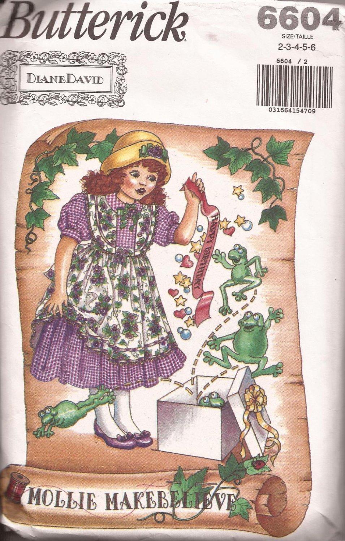 Butterick 6604 (1993) Molly Makebelieve Childs Girls Dress Pinafore Pattern Size 2 3 4 5 6 PART CUT