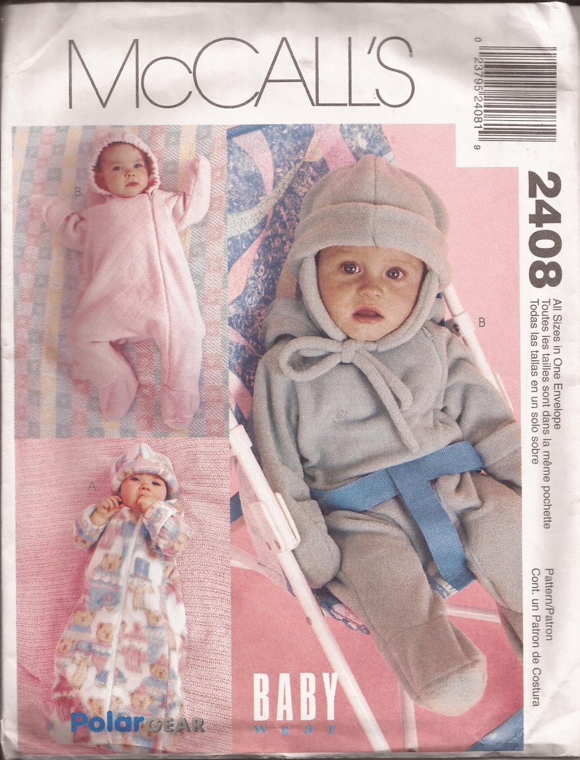 McCalls 2408 (1999) Baby Infant Bunting Onesie Hood Hat Ear Flaps Pattern CUT to SMALL