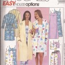McCalls 3446 (2001) Robe Nightgown Top Drawstring Pants Pattern Size XS S M 4 6 8 10 12 14 UNCUT