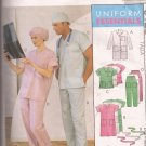 McCalls 9123 (1997) Unisex Scrubs Lab Coat Dress Top Pants Hats Pattern Size XL XXL UNCUT