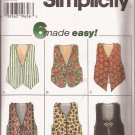 Simplicity 7432 (1996) Lined Reversible Closure Neck Bottom Variation Pattern Size 6 8 10 12 14 16