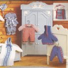 Vogue 9231 (1995) Doll Hat Dress Bloomers Overalls Blouse Jacket Pants Romper Bunting Bag Pattern