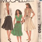 McCalls 7953 (1982) Unlined Jacket V-Neck Bodice Button Elastic Waist Dress Pattern Size 12 PART CUT