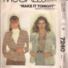 McCalls 7240 (1980) Cardigan Jacket Button Front Patch Pockets Pattern Size 12 CUT