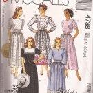 McCalls 4738 (1990) Jewel Neck Elastic Waist Pockets Belt Pattern Size 10 12 14 PART CUT