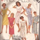 McCalls 2983 (1987) Pullover Elastic Waist Neckline Variations Dress Belt Pattern Size 10 CUT