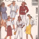 McCalls 3650 (1988) Shirt Top Skirt Pants Shorts Capris Pattern Size 8 10 12