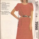 McCalls 7898 (1982) Pullover Dress Tulip Sleeves Elastic Waist Pattern Size Small 10 12 CUT