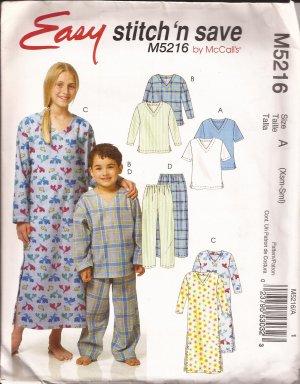 McCalls 5216 (2006) Childs Boys Girls Sleep Top Pants Nightshirt Pattern Size XS 3-4 S 5-6 PART CUT