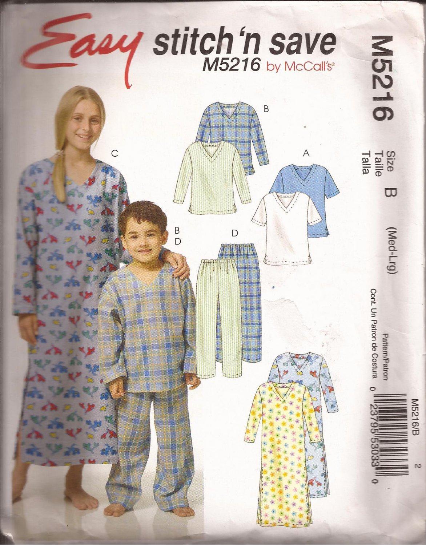 McCalls 5216 (2006) Childs Boys Girls Sleep Top Pants Nightshirt Pattern Size M 7-8 L 10-12 PART CUT
