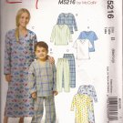 McCalls 5216 (2006) Childs Boys Girls Sleep Top Pants Nightshirt Pattern Size M 7-8 L 10-12 PART CUT