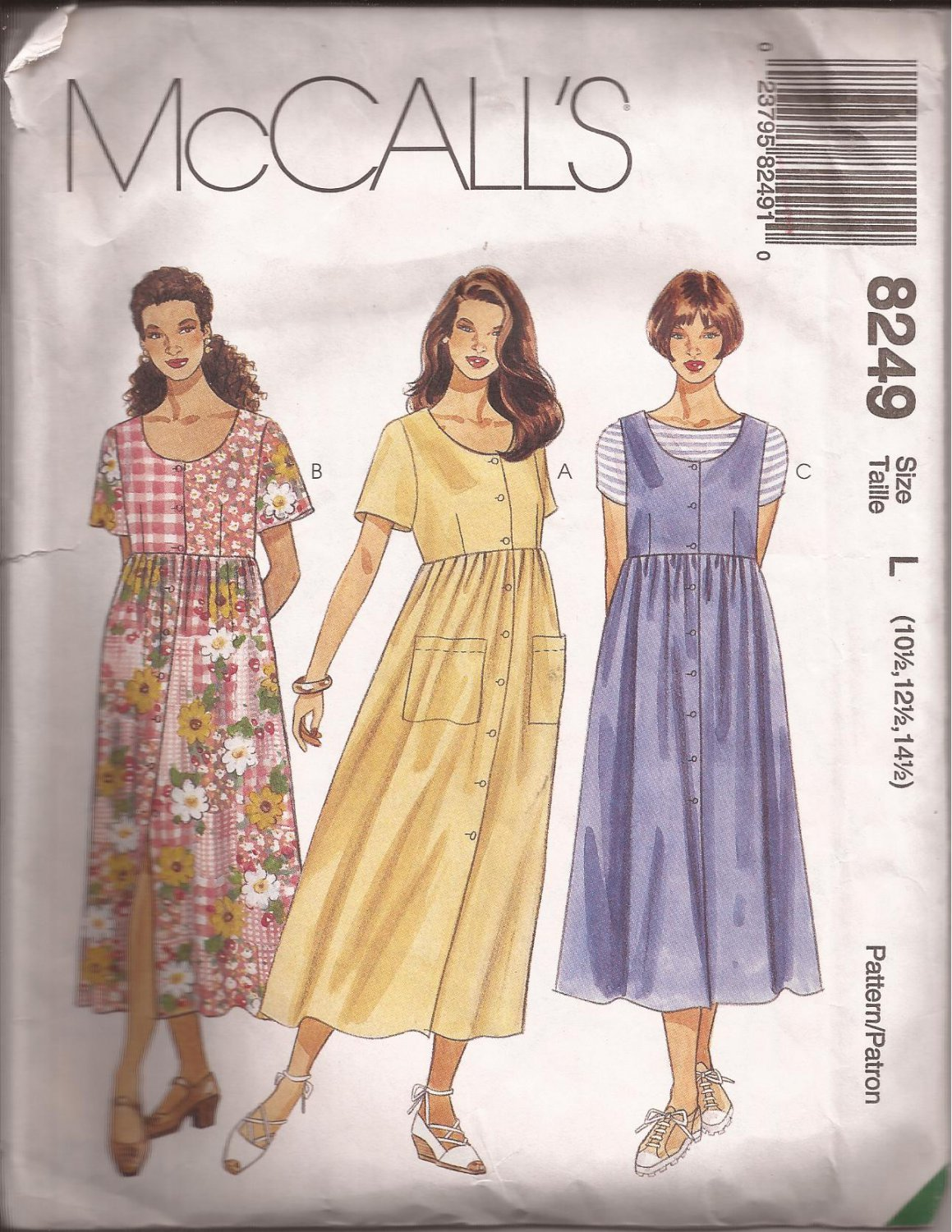 McCalls 8249 (1996) Half Size Dress Jumper Empire Waist Scoop Neck Pattern Size 10.5 12.5 14.5 CUT