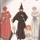 Simplicity 9809 Adult Witch Prarie Dress Cap Belt Girls Pilgrim Angel Costumes Pattern