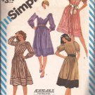 Simplicity 6379 (1983) Elastic Waist Skirt Band Gathered Sleeves Dress Pattern Size 8 10 12