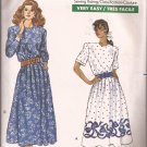 Butterick 6100 (1988) Elastic Pleated Gathered Waist Back Zip Dress Pattern Size 8 10 12 CUT