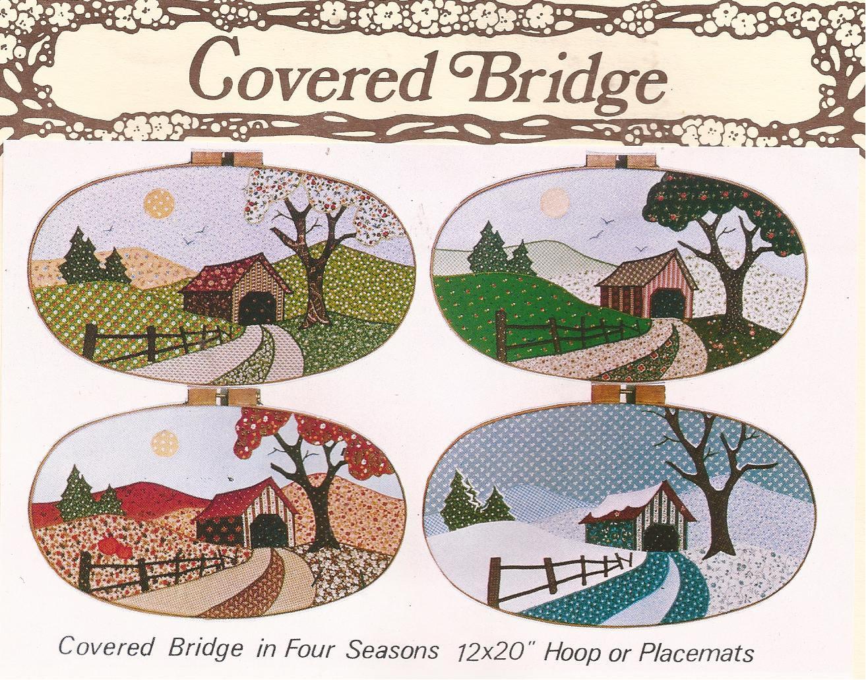 """1983 Covered Bridges Four Seasons Applique Hoop Placemat 12"""" x 20"""" Pattern"""