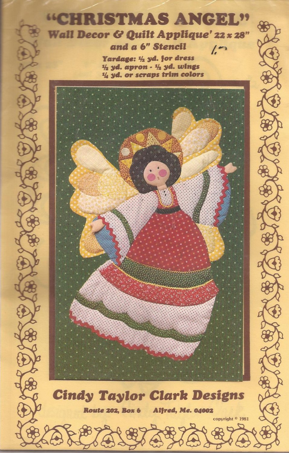 1981 Christmas Angel Wall Quilt Applique Stencil Pattern
