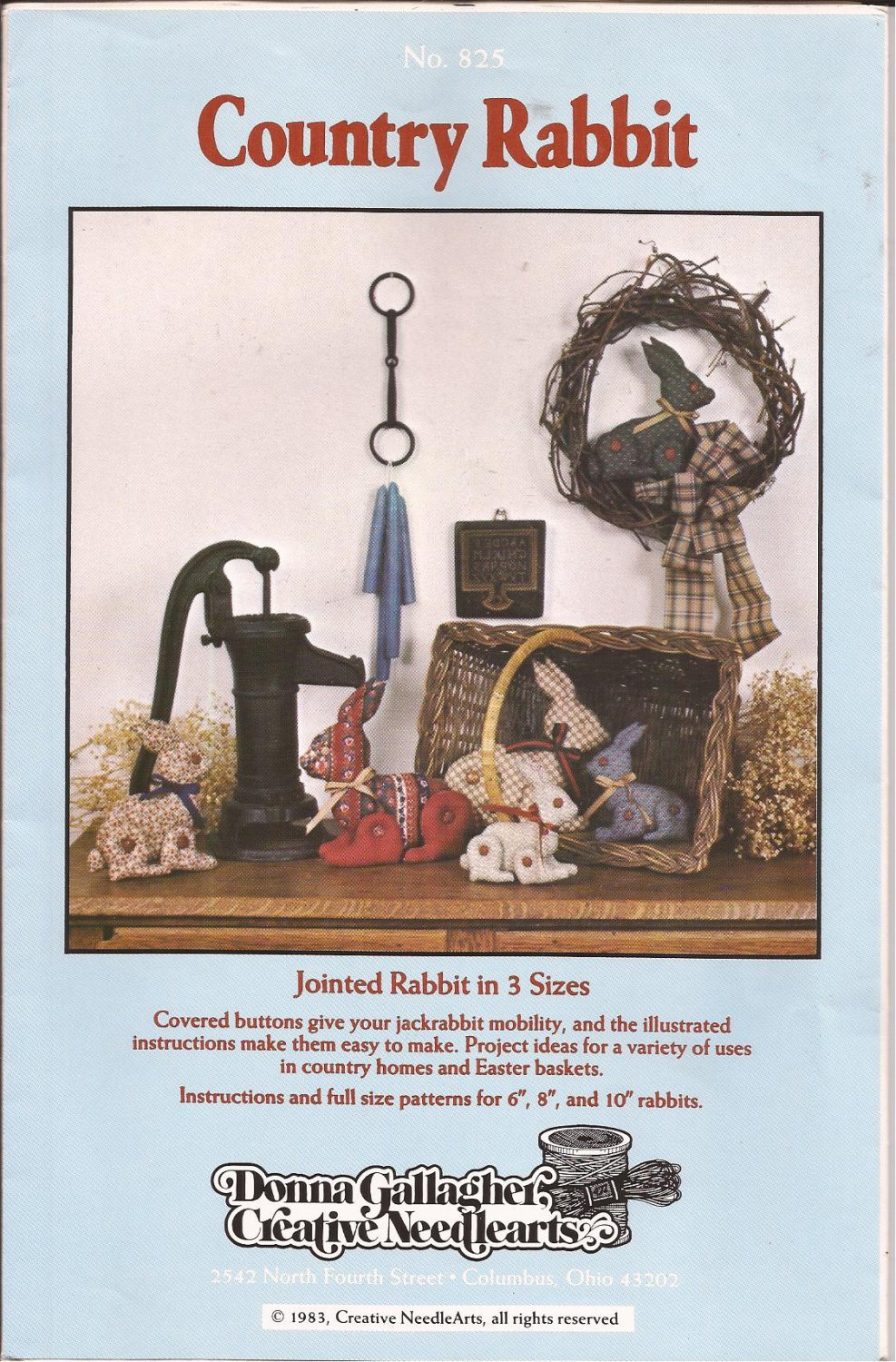 """825 (1983) Creative Needlearts Jointed Covered Buttons Country Rabbit 6"""" 8"""" 10"""""""