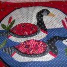 "Country Goose Geese Quilt Look Pillow Wall Hanging Panel Fabric Set of 2 16""W x 16L"""