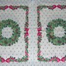 "Christmas Wreath Holly Ribbon Placemat Panels Quilt 13""W x 17.5""L"