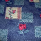 "Denim Look Patchwork Roses Cotton Blend Fabric 1 1/2yds x 44""w"