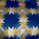 "Sunny Yellows Cool Blue White Cheater Quilt Top Fabric Size 101""L x 90""W"