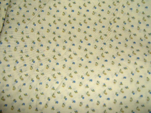 "Cream Yellow Background with Small Blue Gold Flowers Fabric 43""w"